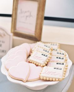 33 Wedding Cookies That Will Sweeten Up Your Dessert Table - Wedding dessert tables have come a long way. What used to be a station reserved for a traditional c - Cookie Table Wedding, Dessert Bar Wedding, Wedding Sweets, Wedding Cookies, Dessert Bars, Wedding Tables, Wedding Ideas, Sweet Table Wedding, Wedding Favors