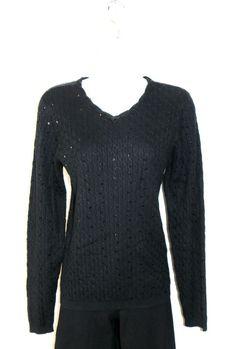 NWT $149 Pendleton Silk Cashmere Sweater Sz M 8/10 Cable Knit Black Sequins #Pendleton #JewelNeckline