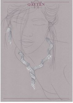 Necklace and earrings: white gold and diamonds