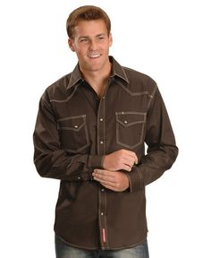 Red Ranch Topstitched Western Shirt