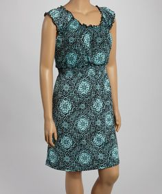 Look at this Turquoise Arabesque Sleeveless Dress - Plus on #zulily today!