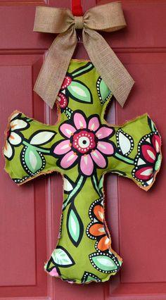 Burlap and Flower Cross Door Hanger
