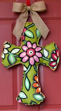 Burlap and Flower Cross Door Hanger by CNelsDesigns on Etsy, $22.00