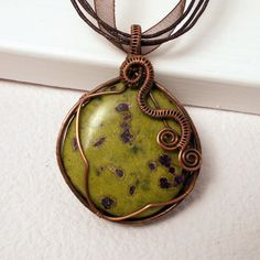 Atlantisite Copper Pendant Necklace Wire by AnnaWireJewelry