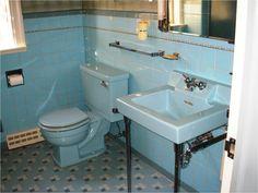 replicating alice s blue 50s bathroom tile floor 50s bathroom from Blue Bathroom Fixtures