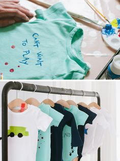 """Cute onesie painting station for a baby shower. Again... a super practical baby shower """"game."""" Only, you need to invite some artistic friends!"""