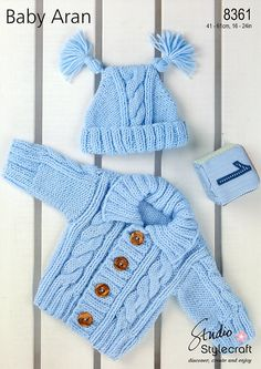 Offering vintage PDF knitting patterns to make a sweet cabled Aran cardigan sweater and double tasseled hat set for baby. Aran, Pattern in DK Size: Chest sizes of - 0 to 4 Years. Also requires pair of knitting needles, cable needle, stitch holder and 4
