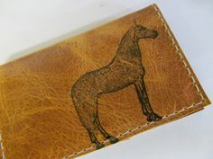 folding leather card wallet hand-printed custom free personalization on Etsy, $15.00