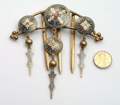Hair Ornament COMB Champleve Enamel over Brass by vintagebitsblitz