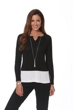 Color Block Split Neck Tunic in Black/White. Style #862