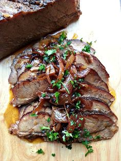 Beer-braised Brisket with Onion Jam: a melt-in-your mouth slab of meat served with a sweet-tangy onion relish.