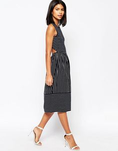 ASOS | ASOS Midi Skater Dress In Pinstripe With Cross Back at ASOS