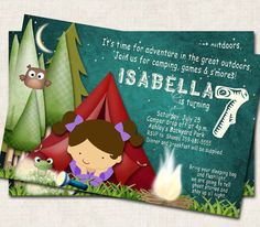 Camping Birthday Party Invitation green by missbellaexpressions,