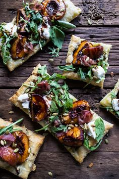 Balsamic Roasted Peach, Basil Chicken and Prosciutto Tarts - so quick, easy and delicious, yet still a meal that will impress all. via half baked harvest Good Food, Yummy Food, Tasty, Plats Healthy, Clean Eating, Healthy Eating, Basil Chicken, Peach Chicken, Roasted Chicken