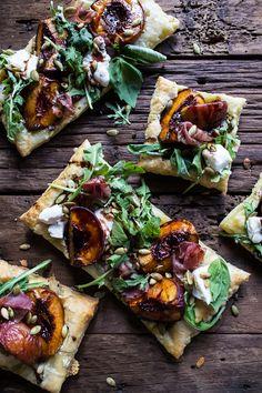 Balsamic Roasted Peach, Basil Chicken and Prosciutto Tarts | halfbakedharvest.com @hbharvest