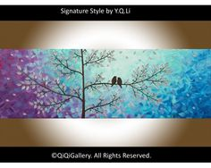 """Autumn Evening"" by QIQIGallery 36""x12"" Original Painting, $185.00"