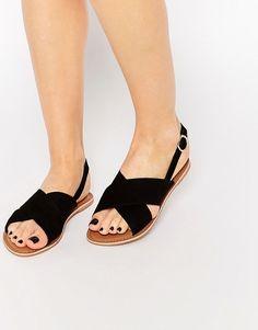 New+Look+Leather+Cross+Strap+Flat+Sandal
