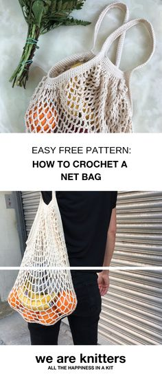 Sign in and get the free pattern + a discount code. It is fun to crochet the bag, it is sustainable and eco friendly. You will never leave the house without your Edda Bag. accessories 2019 Easy free pattern to crochet a net bag Crochet Gratis, Filet Crochet, Crochet Stitches, Knit Crochet, Crochet Bags, Loom Knitting, Free Knitting, Knitting Patterns, Crochet Patterns
