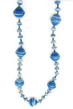 Blue with white stripes gigantic bead necklace