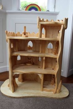 Wooden castle: the elves and the wood botherer: wooden toys Wood Projects, Woodworking Projects, Woodworking Plans, Wooden Castle, Wooden Fort, Wooden Playhouse, Waldorf Toys, Waldorf Crafts, Kids Wood