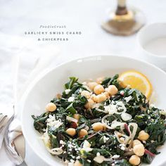Garlicky Swiss Chard and Chickpeas.