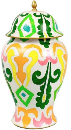 Colourful ikat ginger jar by artist Dana Gibson available for purchase in Adore Home magazine's new online shop. $145. http://www.adoremagazine.com/shop/