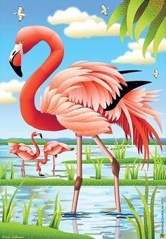 Jeremiah Junction Flag - Fancy Flamingos Decorative Flag at Garden House Flags at GardenHouseFlags