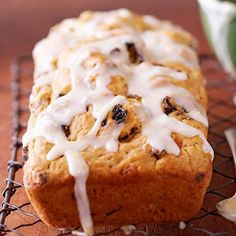 Cherry and Golden Raisin Bread: A light lemon glaze tops this moist tea bread, filled with dried cherries (or cranberries) and golden raisins. The recipe doubles easily so you can make one loaf for family and another for friends. Cherry Loaf Recipes, Banana Bread Recipes, Fruit Bread, Dessert Bread, Bread Food, Peach Bread, Cherry Bread, Almond Bread, Almond Milk