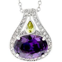 Kate Bissett Silvertone Large Purple Cubic Zirconia Necklace ($21) ❤ liked on Polyvore featuring jewelry, necklaces, white, white necklaces, long necklaces, cubic zirconia pendant, purple pendant necklace and long pendant necklaces