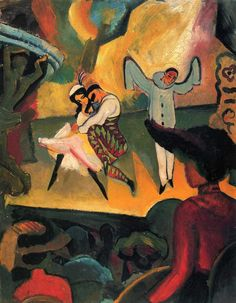 books0977:    Russisches Ballett (I), 1912.August Macke (German,Expressionism, 1887-1914). Oil oncanvas.Kunsthalle, Bremen.  Macke's simple and direct approach to everyday life, his carefully balanced compositions, and his lively colors all enhanced his images of the column-like figures. The serene and balanced visions show a world of visual poetry which separates him from the more forceful works of his expressionist friends.