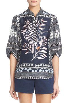 Diane von Furstenberg DVF Women's Floral Scarf Print Silk Tunic Chrystie Top #DianevonFurstenbergDVF #Blouse