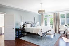 Excellent Blue Bedroom White Furniture Pictures Dark Blue Pale Blue Sets The Backdrop For This Lovely Room While White Accents Show Off The Beautiful House Beautiful 28 Beautiful Bedrooms With White Furniture pictures Gray Bedroom Walls, Black Bedroom Furniture, Bedroom Paint Colors, Grey Walls, Kitchen Furniture, Wall Colors, Furniture Ideas, Furniture Cleaning, Paint Walls