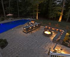 cool stone bar / grill area with lighting