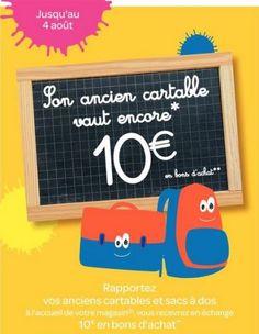 Carrefour Market prépare la rentrée scolaire 2013 et vous reprend votre ancien cartable contre un bon d'achat de 10€ à valoir sur l'achat des fournitures scolaires.
