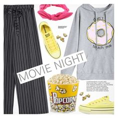 """""""Bring the Popcorn: Movie Night"""" by pokadoll ❤ liked on Polyvore featuring Converse and Hedi Slimane"""