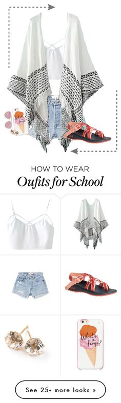 """""""What I do in school"""" by wiertzemasue24 on Polyvore featuring RE/DONE, Chaco, Kate Spade, Boohoo, Ippolita and bored"""