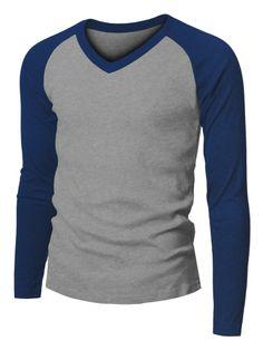 Mens Fashion Long Sleeve V-neck Raglan Baseball T-shirt 149D #Doublju #BasicTee
