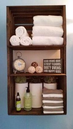 decoracao do banheiro com caixotes de feira