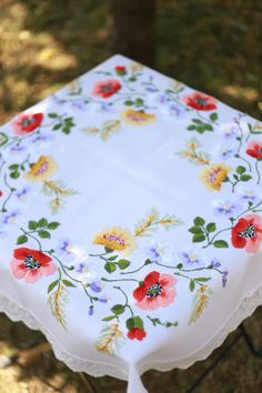 Vintage white large embroidered tablecloth handmade, set of two