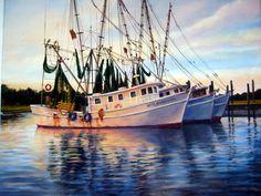 Shrimp Boats Three Abreast by Flaven on DeviantArt Watercolor Landscape, Landscape Paintings, Watercolour Art, Nautical Pictures, Shrimp Boat, Sailboat Painting, Boat Art, Marine Boat, Autumn Painting