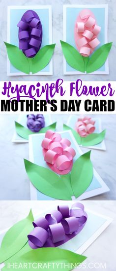 Here is a simple and gorgeous Mother's Day card idea to make this year for Mom or Grandma. This Hyacinth Flower Mother's Day Card is super simple to make with the help of our flower template and Mom will adore it! #mothersdaygift #mothersday #flowercraft #springcrafts #kidscraft #papercraft #papercrafting #mothersdaycard #iheartcraftythings