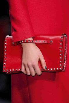 Valentino red leather Rockstud clutch A/I Valentino Red, Valentino Rockstud Bag, My Bags, Purses And Bags, Studs And Spikes, Studded Clutch, Leather Clutch, Red Fashion, Rouge