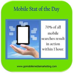 Mobile Stat of the Day:  70% of all mobile searches result in action within 1 hour.  www.facebook.com/GoMobileMediaMarketing