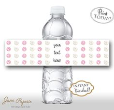 INSTANT DOWNLOAD - Pink Donut Water Bottle Labels - Donut Party Decoration Decor - Water Bottle Labels - Donut Birthday Party - 0233 0234. Find more coordinating printables at JanePaperie: https://www.etsy.com/shop/JanePaperie