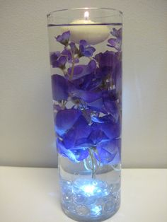 Purple and Blue Flower Floating Candle Wedding by mybarbieart
