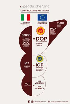 Denominazione d'Origine Protetta DOP Denominazione d'Origine Controllata e Garantita DOCG Denominazione d'Origine Controllata DOC Indicazione Geografica Protetta IGP Indicazione Geografica Tipica IGT Menzioni Geografiche Aggiuntive MGA Vini da Tavola VDT Wine News, Wine Tourism, Wine Guide, Wine Cocktails, Italian Wine, Sauvignon Blanc, Wine And Beer, Pinot Noir, Wine Tasting