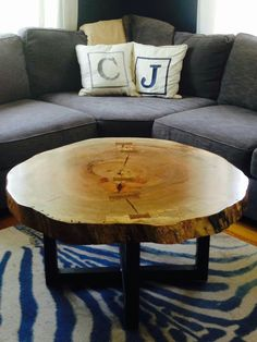 Live Edge Round Tree Log Coffee Table