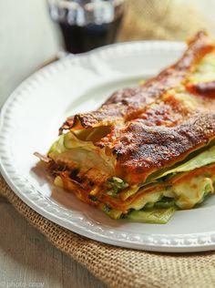vegetarische lasagne tomaat-spinazie-courgette (lijkt erg op de mijne, maar ik doe ook nog aubergine)