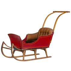 Child's Sled / Sleigh  American  1900  We got this piece from a department store heiress. I think it was used for Christmas displays and family photos. Great decoration. Some modifications needed if you intend to use this piece as a sleigh. Now the top section simply lifts off.
