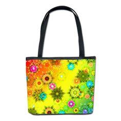 Rainbow Flower Power Bucket Bag